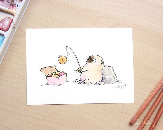 Hey, I found this really awesome Etsy listing at https://www.etsy.com/listing/466737429/donut-fisher-pug-art-print-funny-art