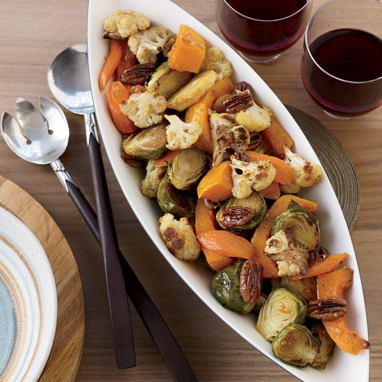 Thanksgiving Vegetable Side Dishes from Food & Wine....Maple Ginger Roasted Vegetables with Pecans  http://www.foodandwine.com/recipes/maple-ginger-roasted-vegetables-with-pecans