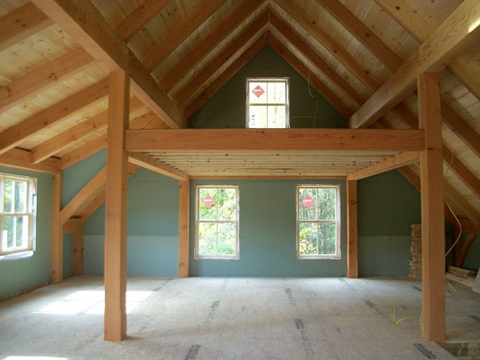 Timber frame loft timber frame pinterest lofts barn for Barn with loft apartment