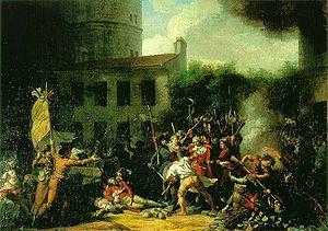 """Prise de la Bastille, Charles Thévenin 1793 Musée Carnavalet-  le 14 juillet 1789, en rédigeant son journal intime, le Roi qui revenait d'une partie de chasse, écrira: """"Rien"""" car il était revenu bredouille de la chasse.  Récit de la Marquise de la Rochejaquelein """"A l'Orangerie de Versailles, le 14 juillet 1789 M. de Bonsol, officier des gardes du corps, vint à nous et dit tout bas : Rentrez, rentrez, le peuple de Paris est soulevé; il a pris la Bastille; on dit qu'il marche sur Versailles."""