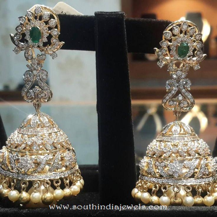 Diamond Jhunka with emeralds, Diamond jhumka from Pearls