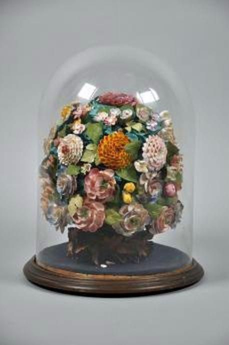 19th century Victorian shell flower dislay, under glass dome,…