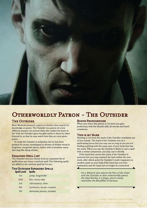 Warlock Otherworldly Patron: The Outsider by kor-artificer (D&D
