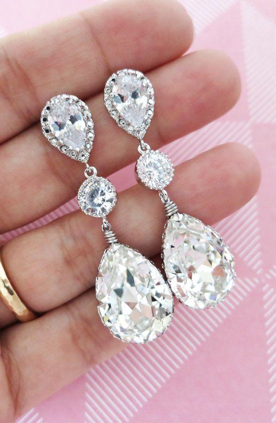 Silver Swarovski Teardrop Crystal Earrings, Bridesmaid, Bridal Wedding Jewelry, Swarovski Crystal Drops, Cubic Zirconia Earrings, www.glitzandlove.com