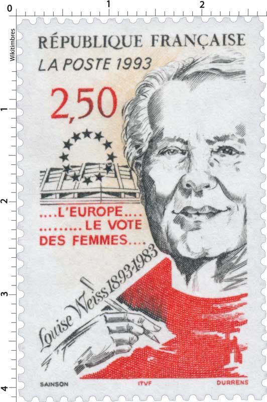 Timbre : 1993 Louise Weiss 1893-1983 ….L'EUROPE…………LE VOTE DES FEMMES…. | WikiTimbres