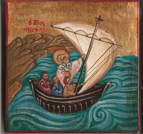 st Nikolas.byzantine orthodox icon the miracle of Saint Nikolas.made in Greece,Greek folk art