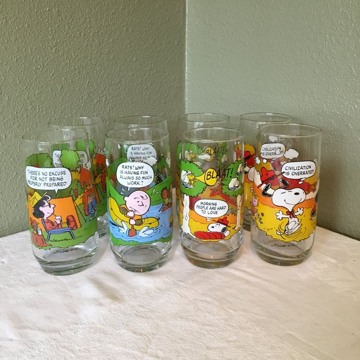 8 Camp Snoopy Drinking glasses, McDonalds Camp Snoopy Collection Lot, Peanuts…