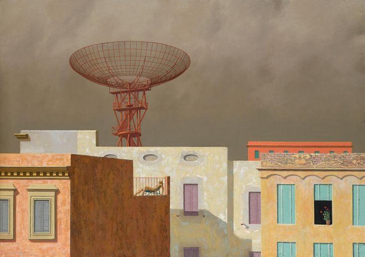 Rooftops Jeffrey Smart Oil on canvas 71.6cm x 100.4cm