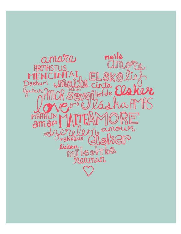 Languages of Love Illustration Print - Dusty Blue Version. $16.00, via Etsy.