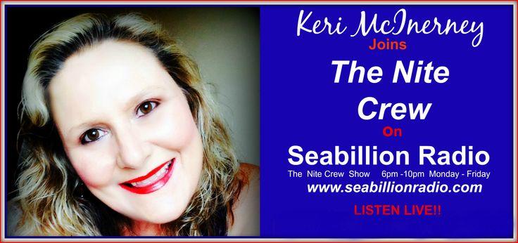 Keri McInerney Commercial Radio Announcer joined the Seabillion Radio Nitecrew Team on February 31st 2015  SEABILLION RADIO IS LOCATED IN BRISBANE, QUEENSLAND, AUSTRALIA BUT IS BROADCAST WORLDWIDE   www.seabillionradio.com     www.facebook.com/Keri.McInerney.On.Seabillion.Radio?ref=hl     www.facebook.com/Keri.McInerney.FanClub.StreetTeam?ref=hl  www.kerimcinerney.com