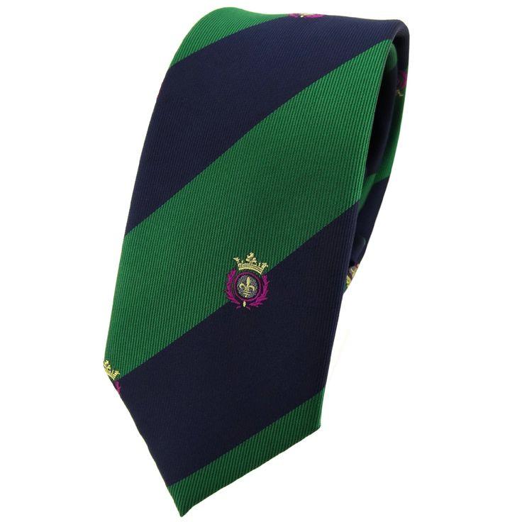 Schmale TigerTie Krawatte grün laubgrün dunkelblau gestreift Wappen - Tie Binder | eBay