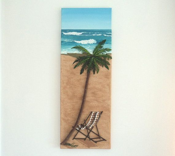 Acrylic Painting, Beach Artwork with Seashells and Wood, Art Wall Picture of Deckchair & Palm Tree, Mosaic Art, 3D Art Collage, Home Decor, Wall Decor #ArtworkwithSeashells #mosaiccollage #seashellmosaic #homedecor #walldecor #3D