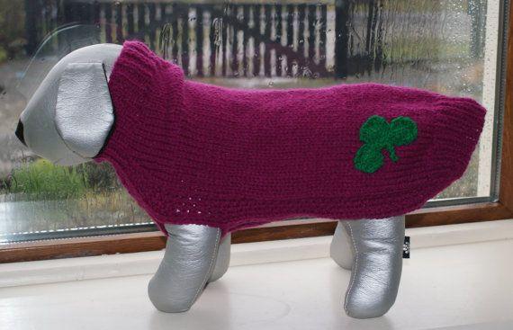 Hand Knitted St Patricks Day Dog Jumper Dog by IrishSmallKnits