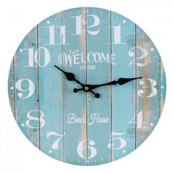 Clocks :: Indoor Wall Clocks :: Beach & Surf :: Welcome to our Beach House Wall Clock -
