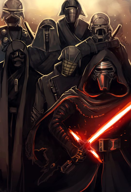 Knights of Ren by Basiliskos. THE GANG FROM ROGUE ONE!!!!!! They will be captured at the end of the movie, turned evil by the dark side and then frozen in carbonite!!!!!