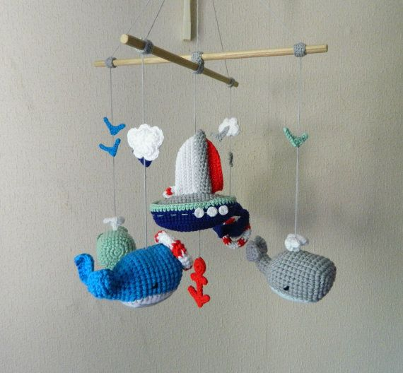 Baby mobile Whale baby crochet crib mobile Sea by UAmadeForYou