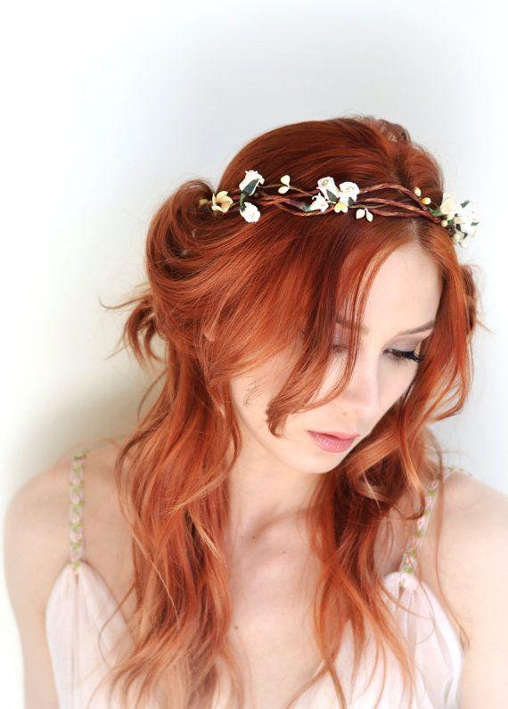 Cream floral crown hair wreath flower head by gardensofwhimsy