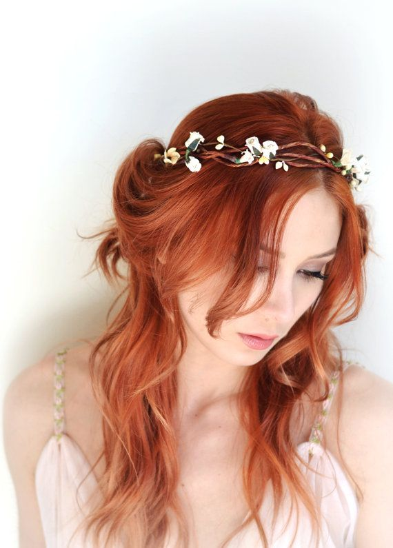 Ivory floral crown hair wreath flower head by gardensofwhimsy
