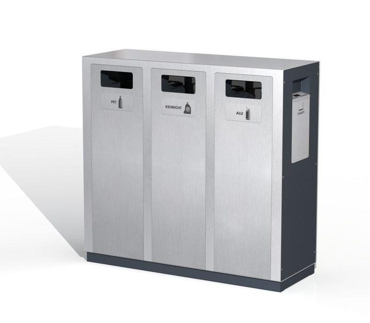 Wertstoffbehälter W2, Recyclingstationen, Public Waste Bins, Edelstahl, Inox, Swiss Made, poubelle recyclage, Abfallbehälter