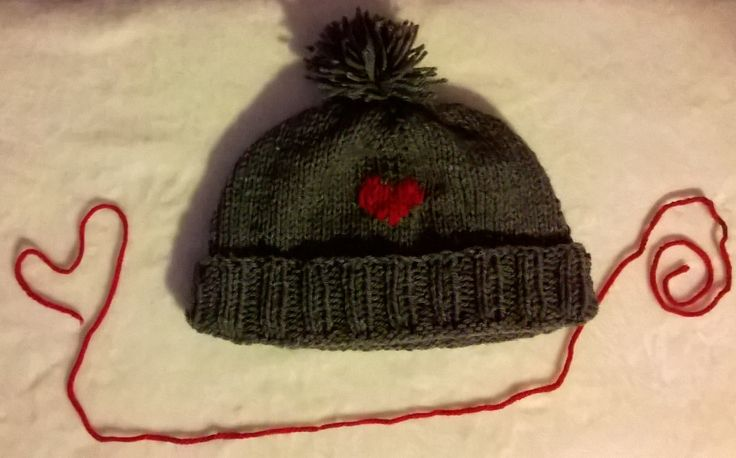 Aran wool hat with red love heart