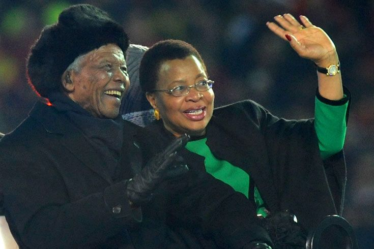 2010: The death of Mandela's great-granddaughter meant that he could not be at the opening ceremony of the 2010 World Cup in South Africa. But he was there with Graca Machel, his wife, for the closing ceremony. [EPA]