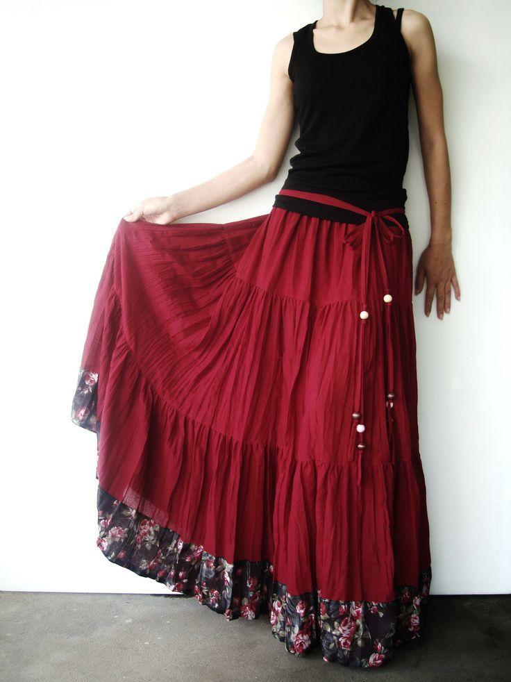 NO.25 Burgundy Cotton, Hippie Gypsy Boho Tiered Long Peasant Skirt. $42.00, via Etsy.
