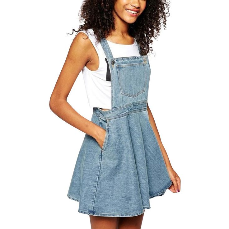Womens Elegant pocket strap Denim Dress sleeveless casual Overalls dresses female
