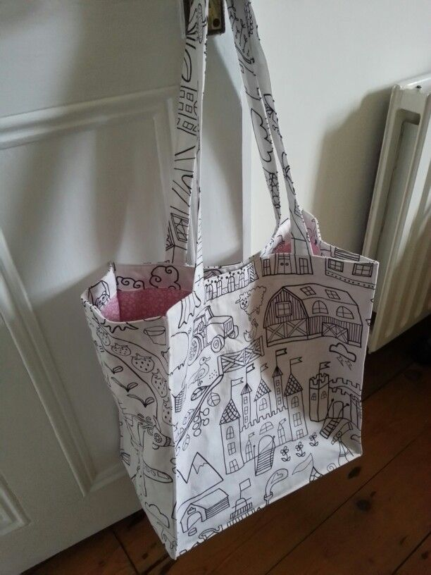 Bag Made Of Ikea Tidny Fabric Lined In Pink With