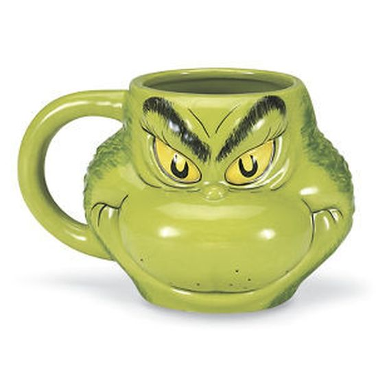 What's Christmas without The Grinch? Enjoy your favorite beverage in our expressive, sculpted mug! Ceramic. Holds 18 oz.