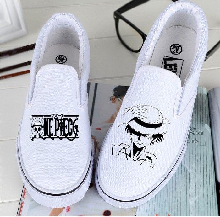 Personalizzato delle donne di un pezzo low top scarpe anime di tela creativo della scimmia d luffy dipinto a mano graffiti di modo delle ragazze della scarpa da tennis(China (Mainland))