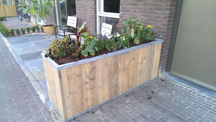 Bloembak steigerhout | Design | Op maat | Steigerhoutmeubelsonline.nl