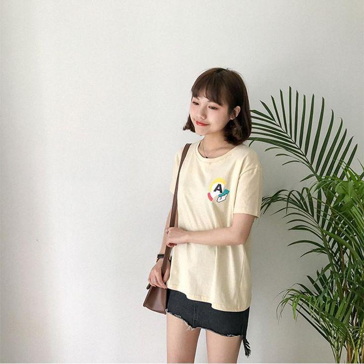 Women Yellow Tee Shirt Clothes Fashion Cute Modern Short Sleeves Stylish Words