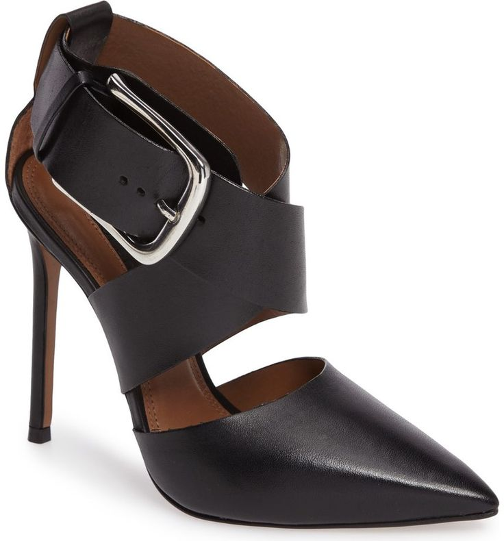 Arch-baring cutouts and a polished, oversized buckle detail a pointy toe pump in supple leather.