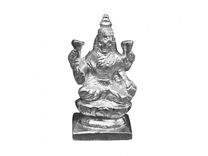Buy Lakshmi idol in parad online from vedicvaani.com to across the worldwide at fair rates. Goddess Lakshmi made of pure solidified mercury (Parad).  Establishment of statue of Laxmi made of mercury gives: wealth for a long long time, success in business or job is achieved.