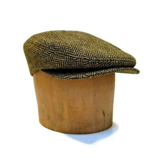 Men's Hat Driving Cap in Vintage Herringbone by HatsWithAPast