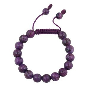 #8: 10mm Round Genuine Stone Bead Adjustable Shamballa Bracelet.