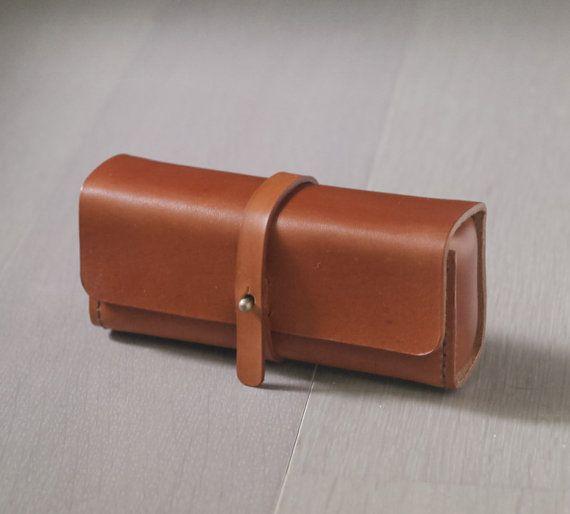 brown vegetable cow hide leather Pencil Case/Pen Pouch/ Sunglasses Case on Etsy, 34,75€