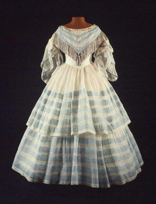 Circa 1850-1860 blue and white dress