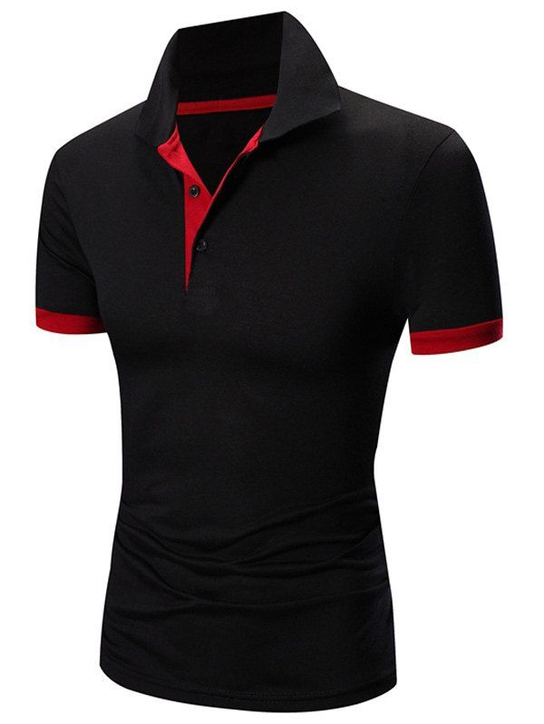 Laconic Turn-down Collar Color Block Short Sleeves Men's Polo T-Shirt - RED/BLACK XL
