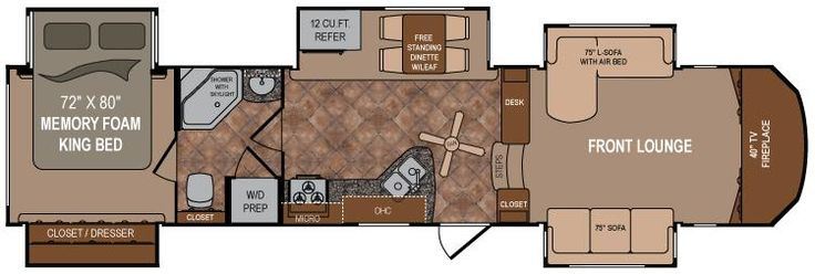 This is the floor plan of a 5th wheel travel trailer we - Infinity fifth wheel front living room ...
