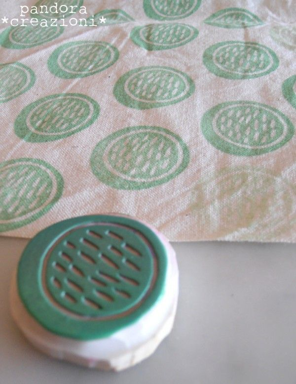 Cute handmade stamp on fabric---this would be cool on white curtains