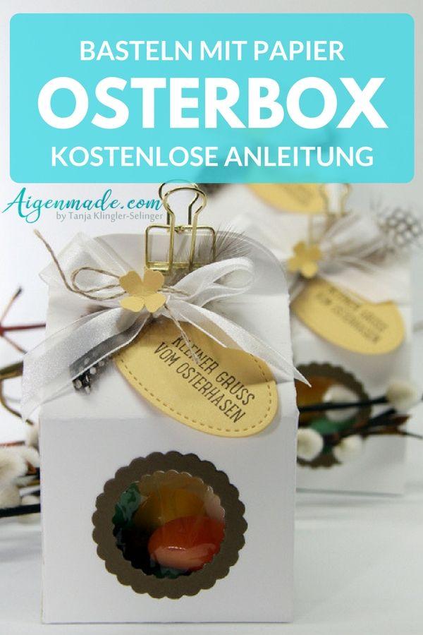Tolle Osterbox als Ostergeschenk aus Papier mit StampinUP! selber basteln und dekorieren - Kostenlose Schritt für Schritt Anleitung #stampinup #ostern #osterhasen #basteln #diy