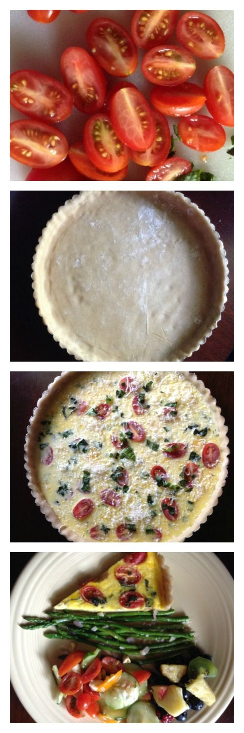 Complete Meal Monday: Tomato and Basil Quiche with Garlic, Shallot, and Lemon Butter Asparagus, and Tomato Mozzarella Salad. 3 recipes, one click!