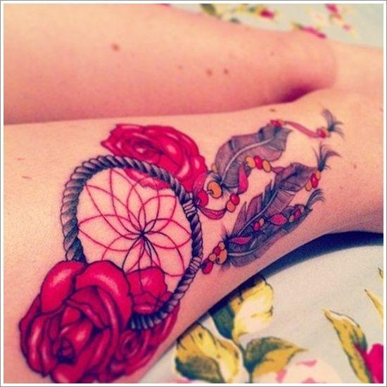 tattoo filtro dos sonhos com rosas