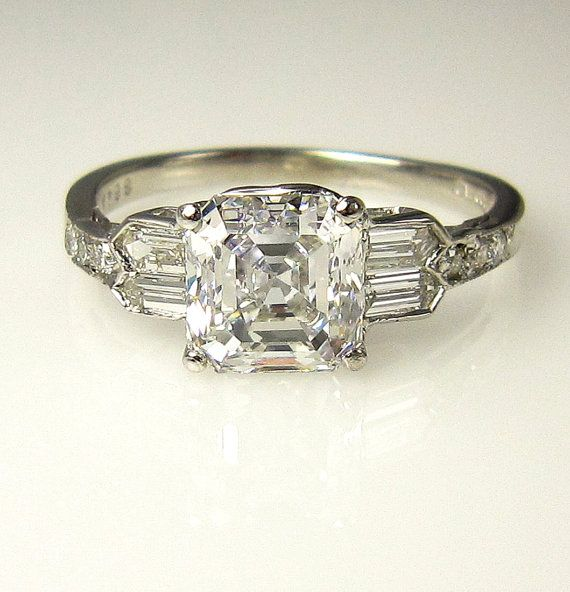 Reserved....GIA Art Deco 2.53ct Antique Vintage Asscher Cut Diamond Engagement Ring in PLATINUM, Circa1920