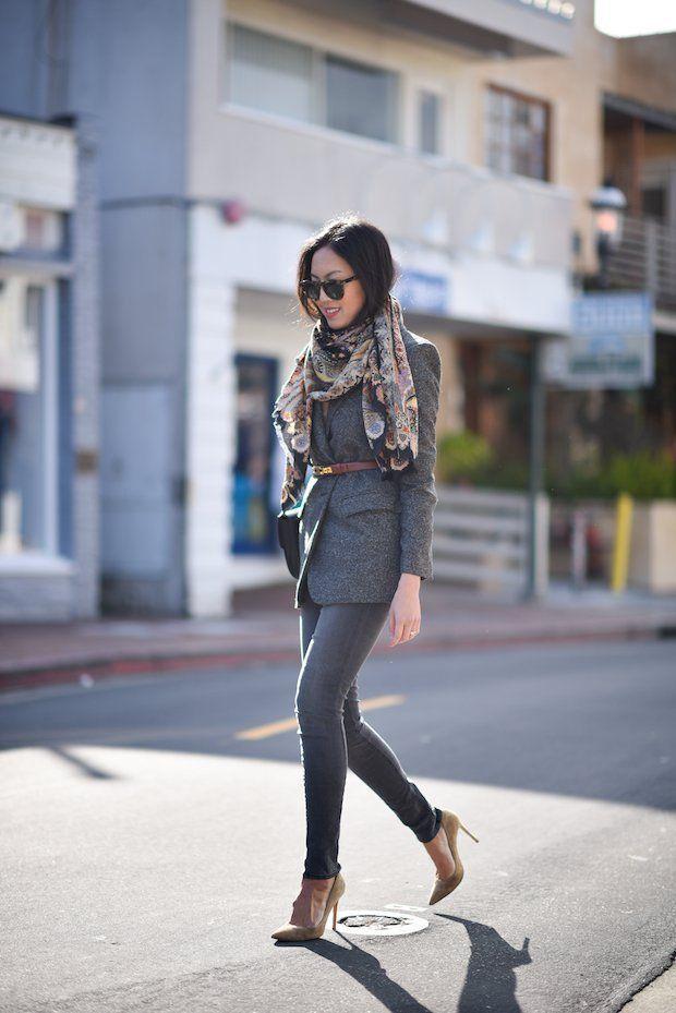Модные серые наряды для этой осени.