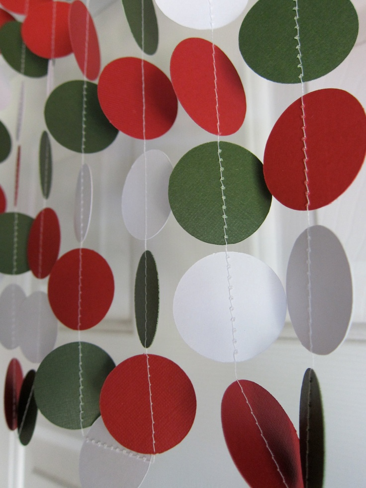 Christmas Garland Red Green And White Paper Garland