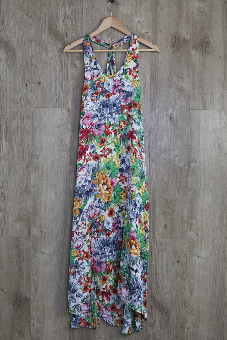 Tropical Flower Silk Maxi Dress