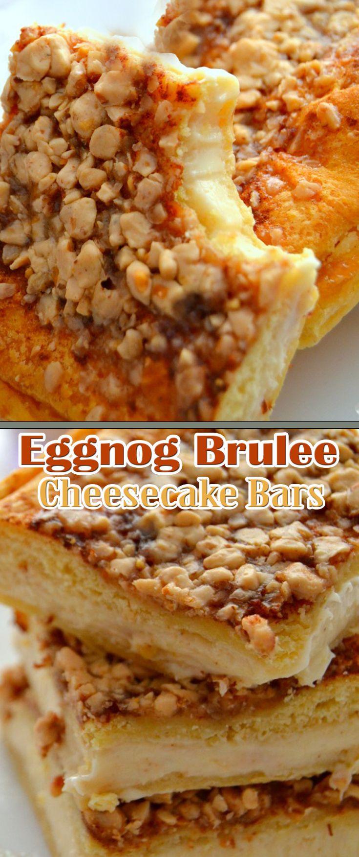 Eggnog Brulee Cheesecake Bars
