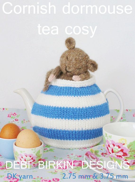 cornish dormouse tea cosy teacozy cozy cosies PDF email knitting pattern